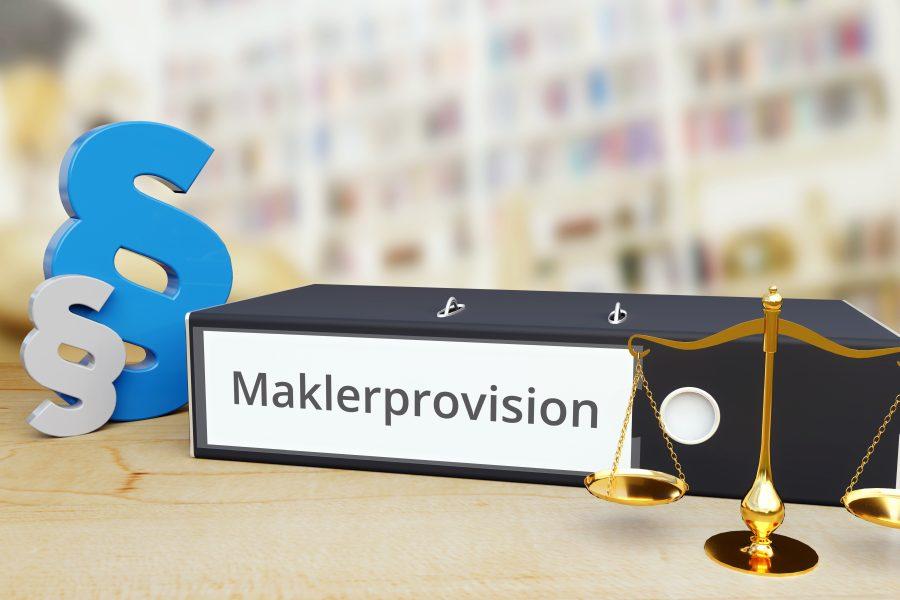 Aktenordner mit Aufschrift Maklerprovision